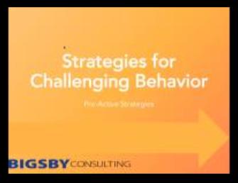 Strategies for Challenging Behaviour – Proactive Strategies